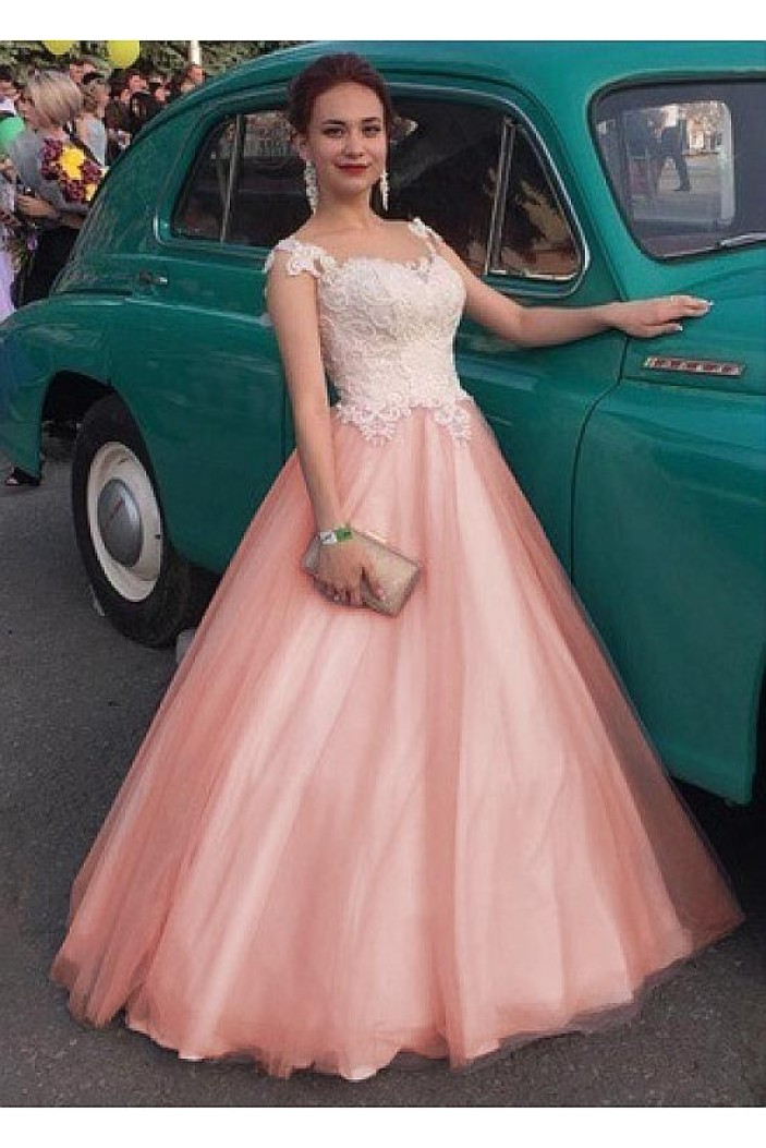 Ball Gown Tulle Lace Long Prom Dresses Formal Evening Dresses 601338