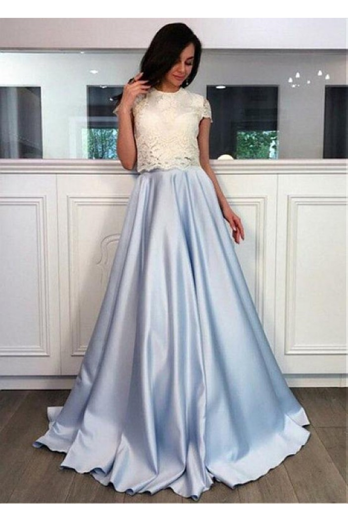 A-Line Lace Two Pieces Long Prom Dresses Formal Evening Dresses 601342