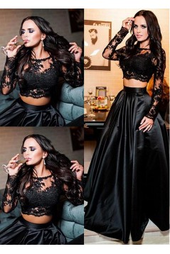A-Line Lace Long Sleeves Two Pieces Long Prom Dresses Formal Evening Dresses 601343