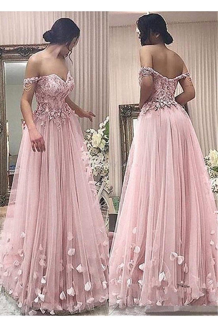 A-Line Off-the-Shoulder Beaded Lace Tulle Long Prom Dresses Formal Evening Dresses 601346
