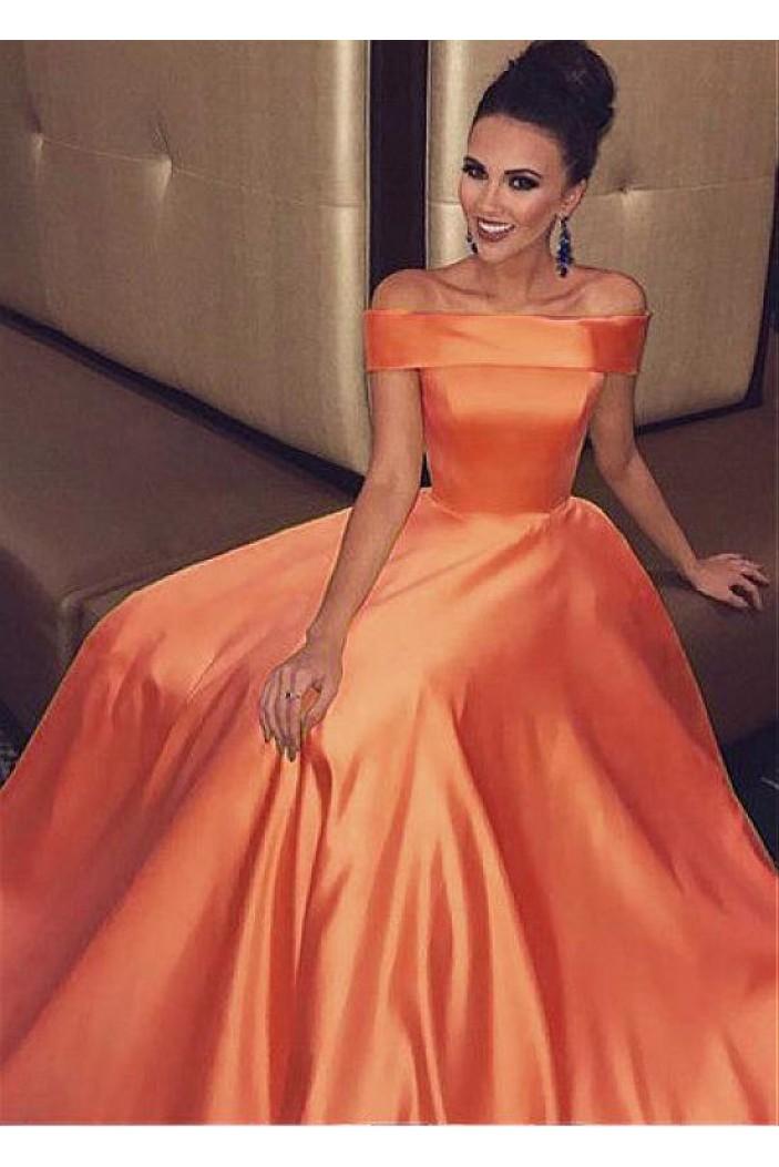 A-Line Off-the-Shoulder Long Prom Dresses Formal Evening Dresses 601348