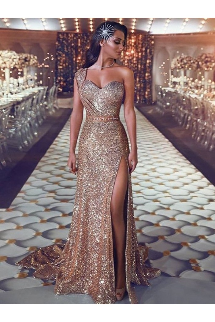 Sequins One-Shoulder Beaded Long Prom Dresses Formal Evening Dresses 601352