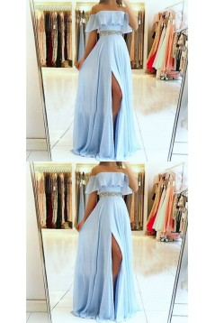 A-Line Off-the-Shoulder Beaded Long Prom Dresses Formal Evening Dresses 601353