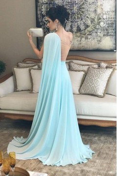 A-Line One-Shoulder Long Prom Dresses Formal Evening Dresses 601355