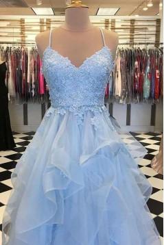 Spaghetti Straps Lace Long Prom Dresses Formal Evening Dresses 601362
