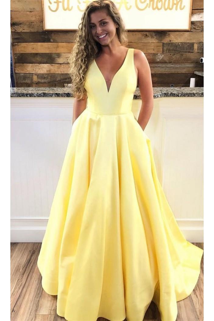 A-Line V-Neck Long Prom Dresses Formal Evening Dresses 601363
