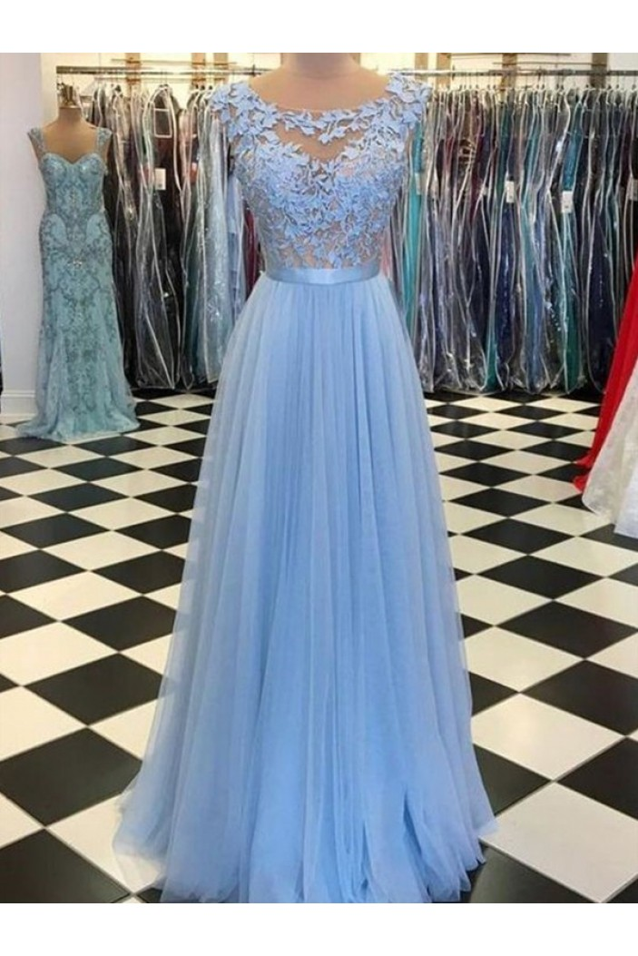 A-Line Lace Tulle Long Prom Dresses Formal Evening Dresses 601365