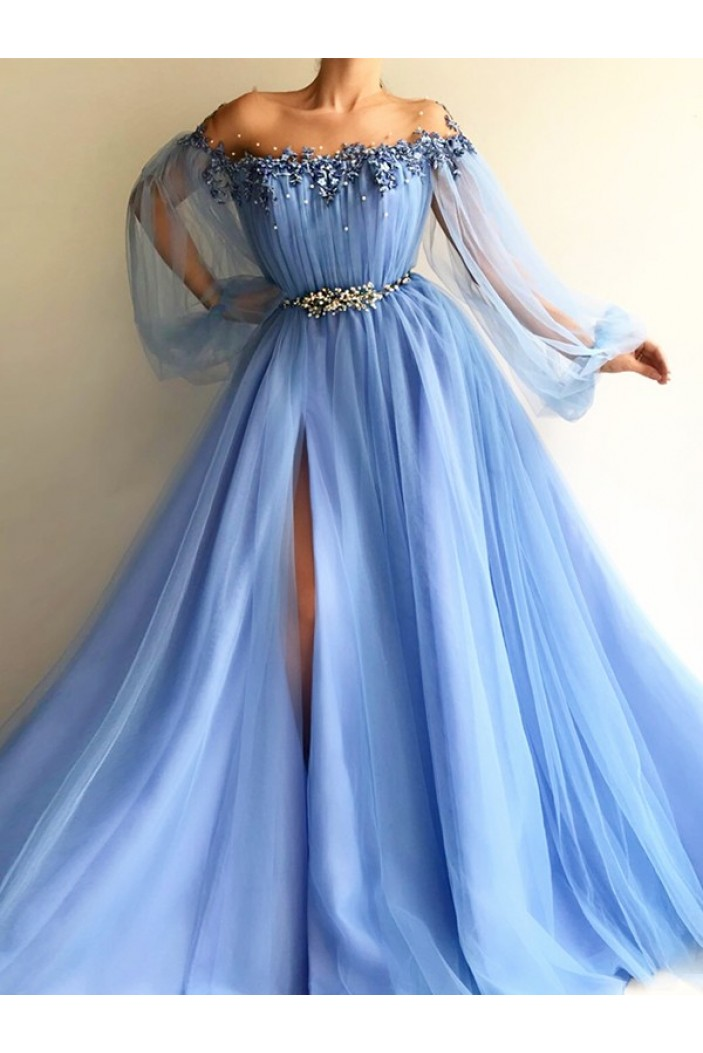 Beaded Lace Tulle Long Sleeves Long Prom Dresses Formal Evening Dresses 601366