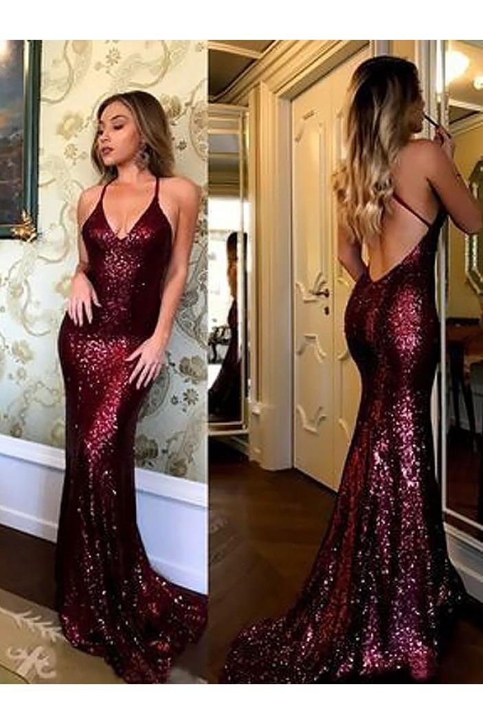 Mermaid Sequins Long Prom Dresses Formal Evening Dresses 601367