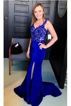 Elegant Mermaid Straps Open Back Long Prom Dress with Appliques Formal Evening Dresses 601369