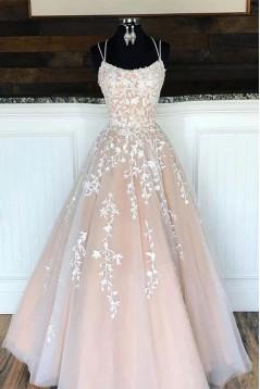 Elegant Lace Appliques Long Prom Dresses Formal Evening Dresses 601374