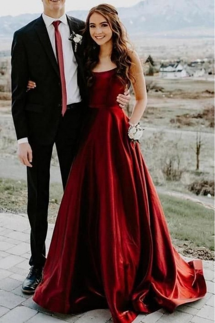 Elegant A-Line Satin Long Prom Dresses Evening Gowns with Pockets 601375
