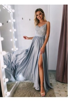 A-Line V-Neck Lace Long Prom Dresses Evening Gowns 601378