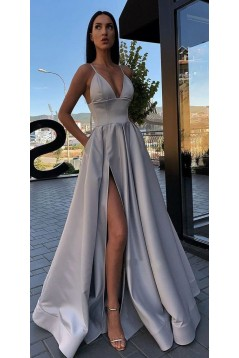 A-line Spaghetti Straps Side Slit Long Prom Dresses Evening Gowns 601379