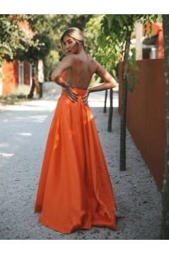 Sexy A-Line Spaghetti Straps V-neck Long Prom Dresses Formal Evening Gowns 601380