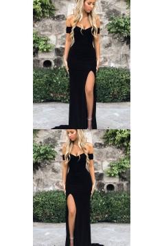 Elegant Long Black Off-the-Shoulder Prom Dresses Evening Gowns with Slit 601381