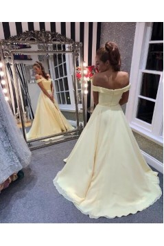 A-Line Off-the-Shoulder Long Prom Dress Formal Evening Dresses 601382