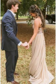 A-Line V-Neck Long Prom Dress Formal Evening Dresses 601384