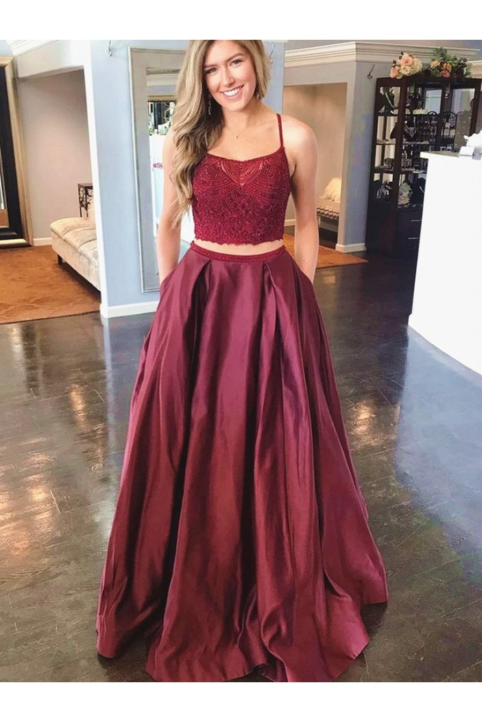 A-Line Two Pieces Long Prom Dress Formal Evening Dresses 601385