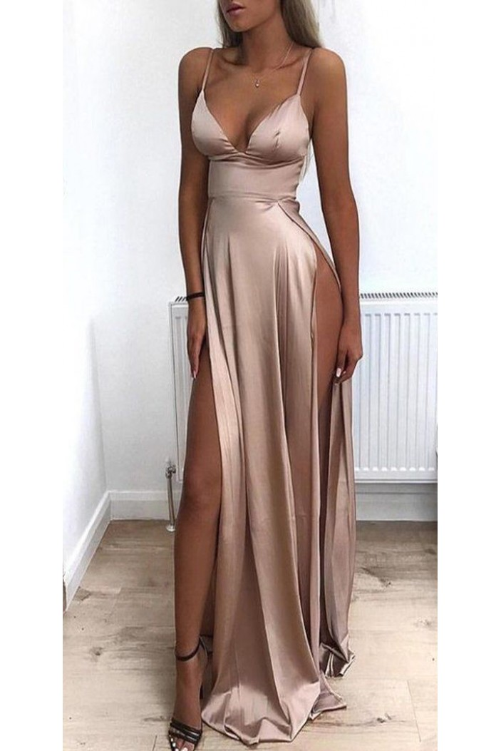 Sexy Spaghetti Straps V-neck Long Prom Dress Formal Evening Dresses with High Slits  601387
