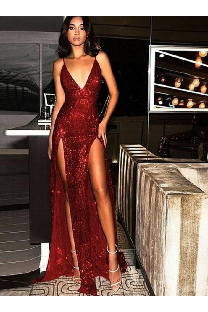 Sexy Spaghetti Straps V-neck Sparkling Long Prom Dress Formal Evening Dresses with High Slits  601388