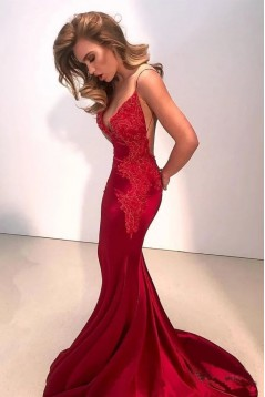 Sexy Mermaid V-Neck Lace Long Prom Dress Formal Evening Dresses 601389