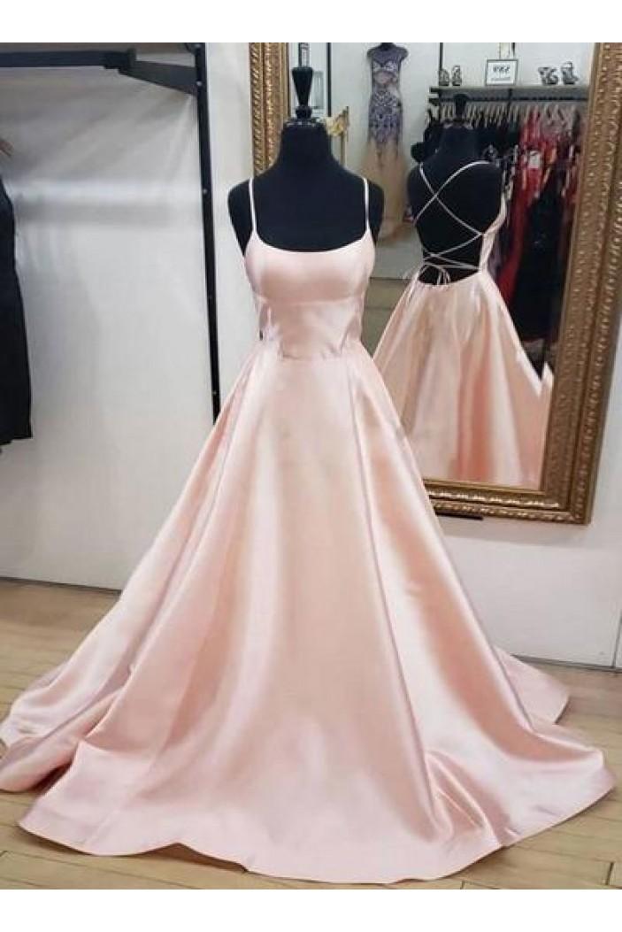 A-Line Spaghetti Straps Long Prom Dress Formal Evening Dresses 601393