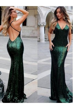 Mermaid V-Neck Spaghetti Straps Long Prom Dress Formal Evening Dresses 601394