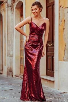 Elegant Spaghetti Straps V-Neck Sparkling Long Prom Dress Formal Evening Dresses 601398