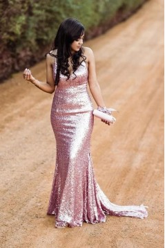 Elegant Spaghetti Straps V-Neck Sparkling Long Prom Dress Formal Evening Dresses 601399