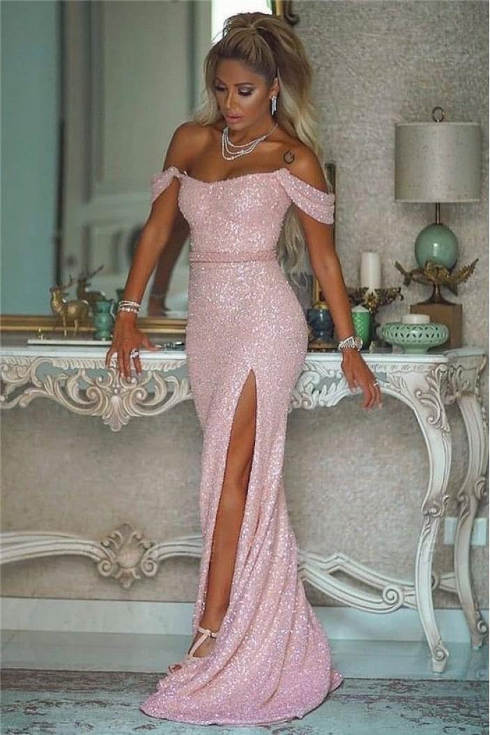 Elegant Mermaid Off-the-Shoulder Sequins Long Prom Dress Formal Evening Dresses 601401