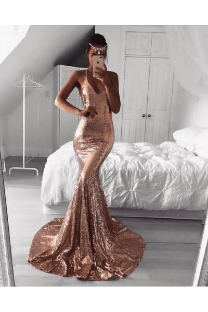 Mermaid Spaghetti Straps V-Neck Sequins Long Prom Dress Formal Evening Dresses 601402