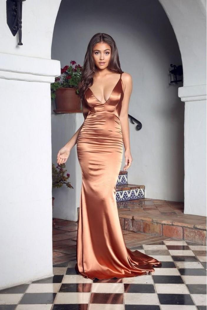 Mermaid Spaghetti Straps V-Neck Long Prom Dress Formal Evening Dresses 601403