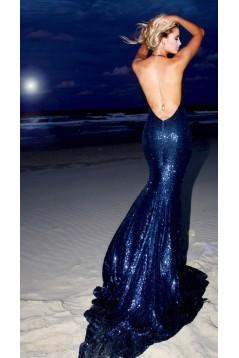 Mermaid Halter Sparkling Long Prom Dress Formal Evening Dresses 601404