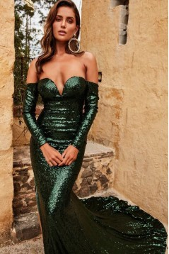 Mermaid Off-the-Shoulder Long Sleeves Sparkling Long Prom Dress Formal Evening Dresses 601407