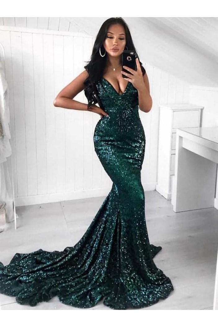 Mermaid V-Neck Sparkling Long Prom Dress Formal Evening Dresses 601408