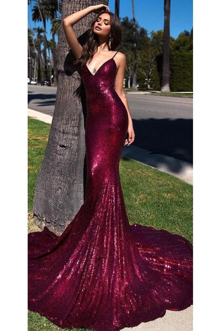 Mermaid V-Neck Spaghetti Straps Sparkling Long Prom Dress Formal Evening Dresses 601409