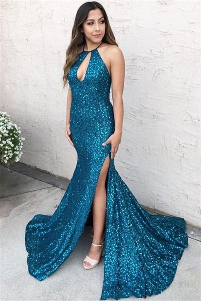 Mermaid Sparkling Long Prom Dress Formal Evening Dresses 601411