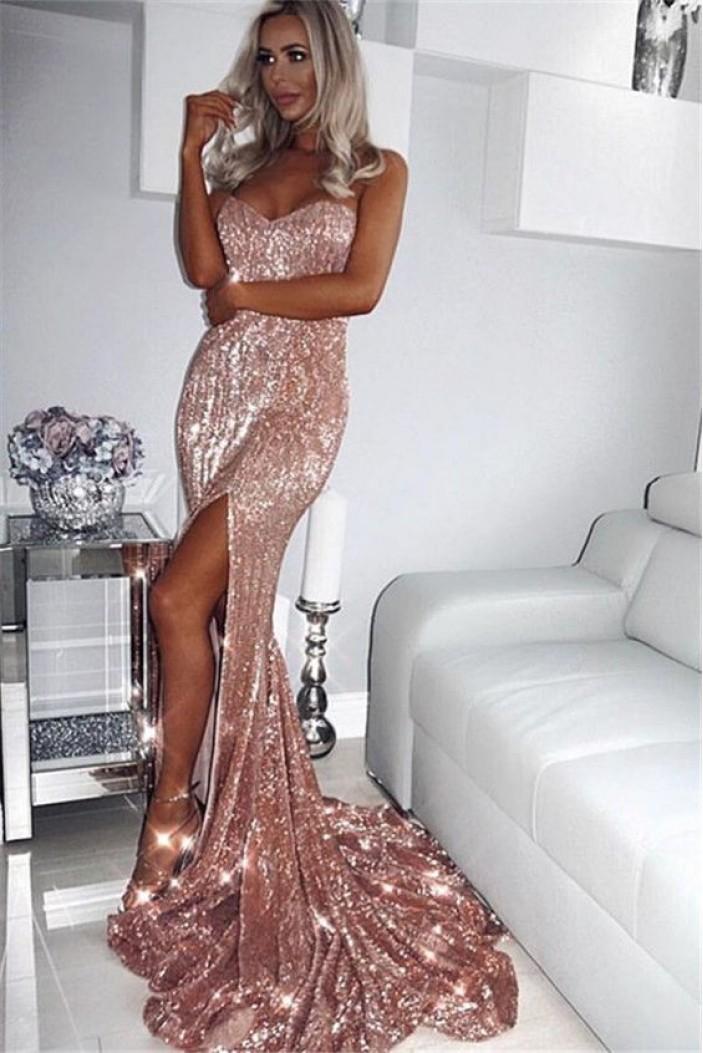 Mermaid Sweetheart Sparkling Long Prom Dress Formal Evening Dresses 601413