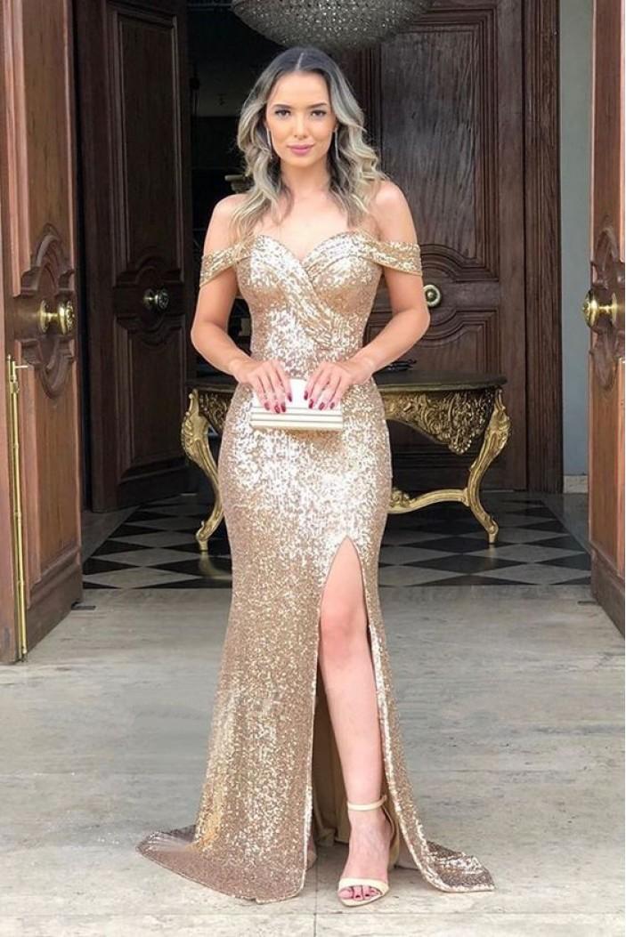 Elegant Mermaid Off-the-Shoulder Long Prom Dress Formal Evening Dresses 601414