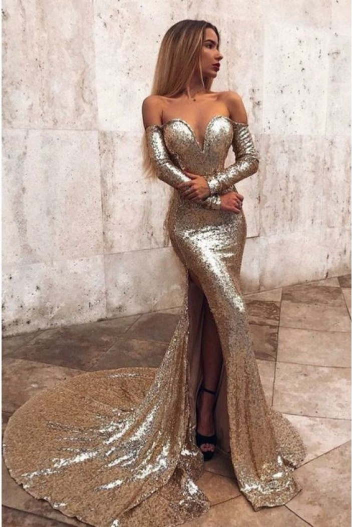 Mermaid Off-the-Shoulder Long Sleeves Sparkling Long Prom Dress Formal Evening Dresses 601417