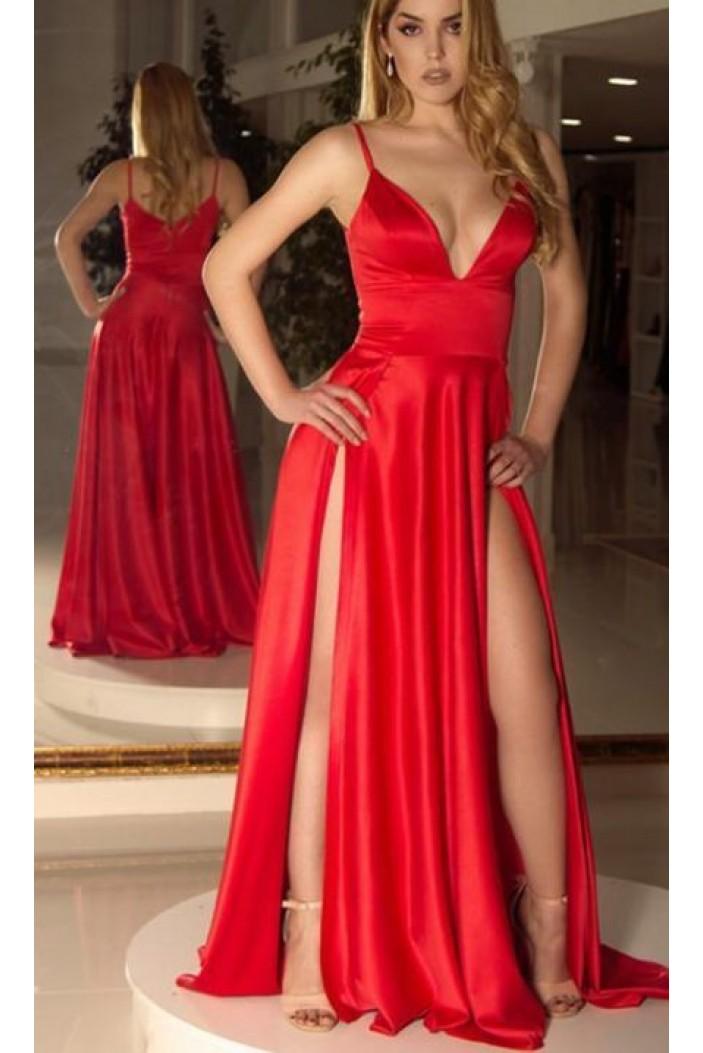 Sexy Long Red V-Neck Spaghetti Straps Prom Dress Formal Evening Dresses 601418