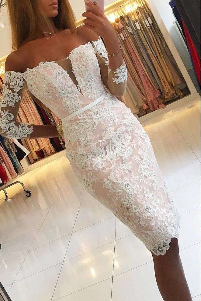 Elegant Off-the-Shoulder Short Lace Prom Dress Formal Evening Dresses 601423