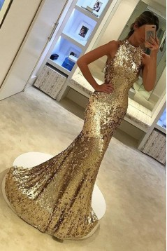 Mermaid Gold Sparkling Long Prom Dress Formal Evening Dresses 601425