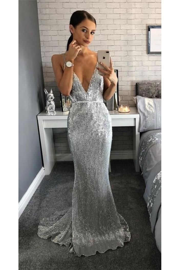 Mermaid V-Neck Spaghetti Straps Sparkling Long Prom Dress Formal Evening Dresses 601427