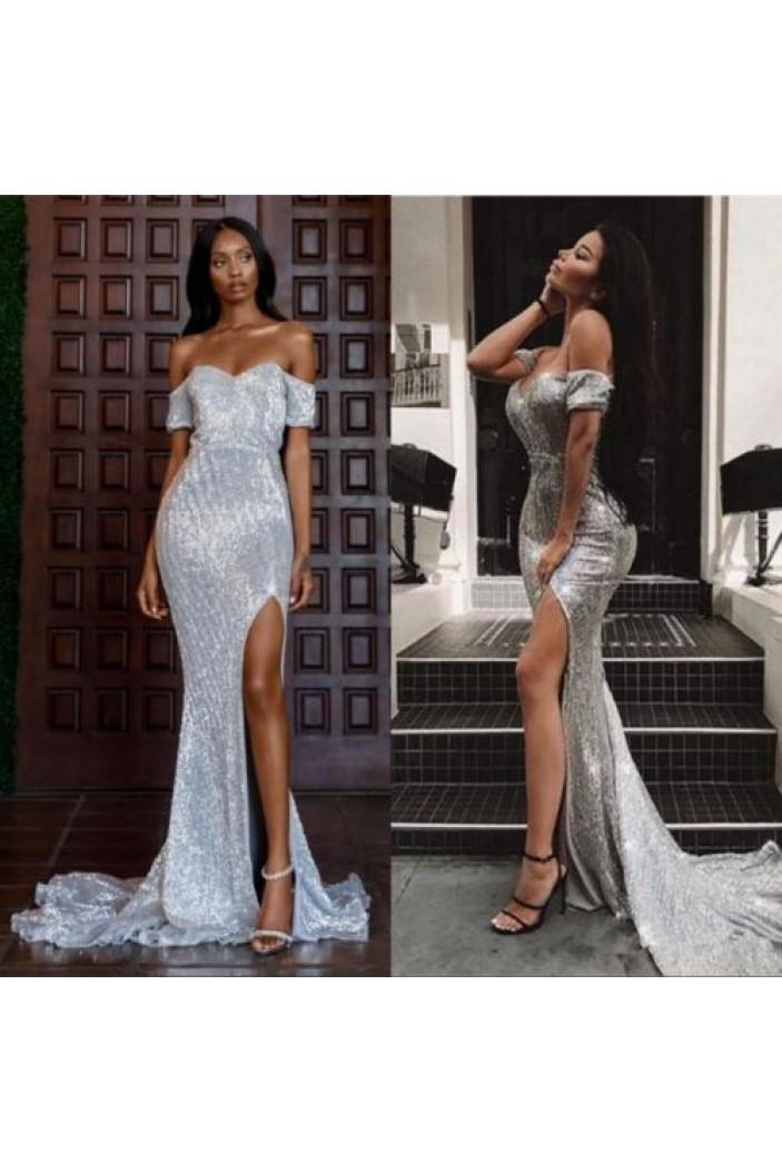 Mermaid Off-the-Shoulder Sparkling Long Prom Dress Formal Evening Dresses 601428