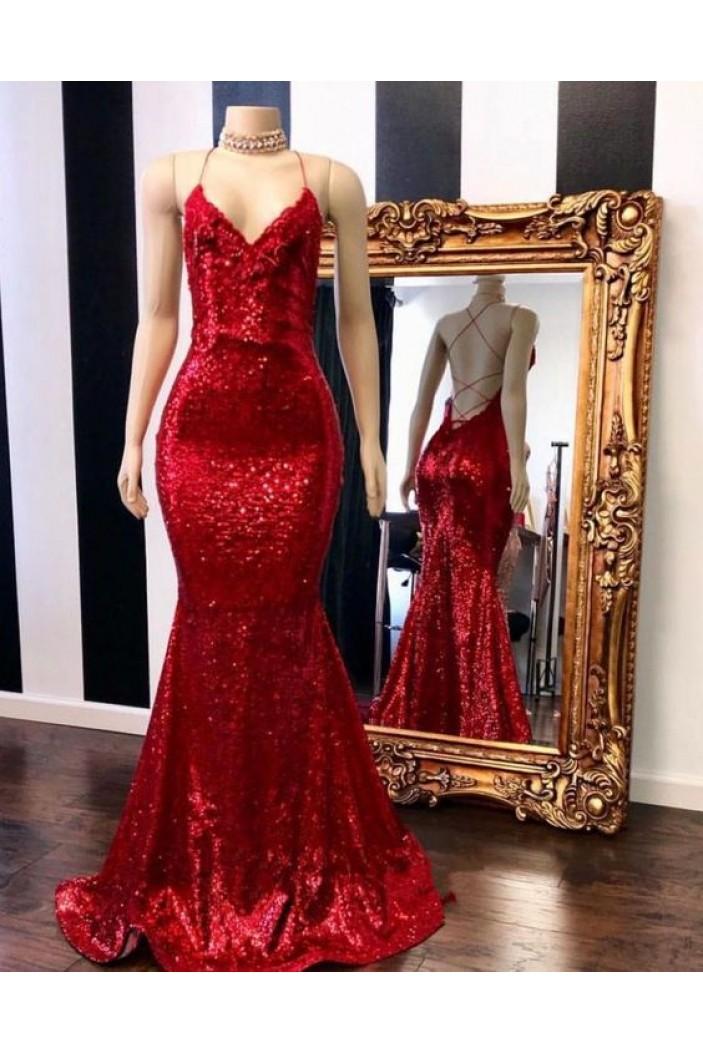Mermaid Spaghetti Straps Sparkling Long Prom Dress Formal Evening Dresses 601432