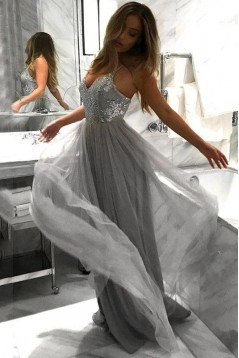 A-Line Tulle Long Prom Dress Formal Evening Dresses 601433