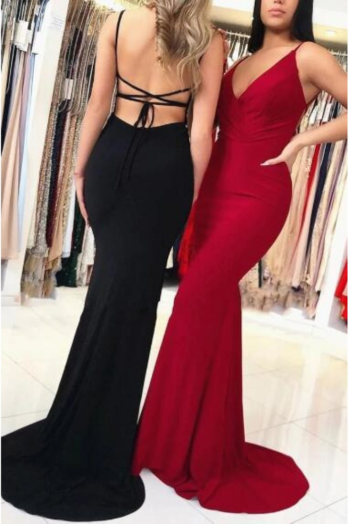 Mermaid Spaghetti Straps Long Prom Dress Formal Evening Dresses 601437