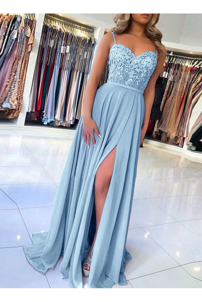A-Line Beaded Lace Chiffon Long Prom Dress Formal Evening Dresses 601441
